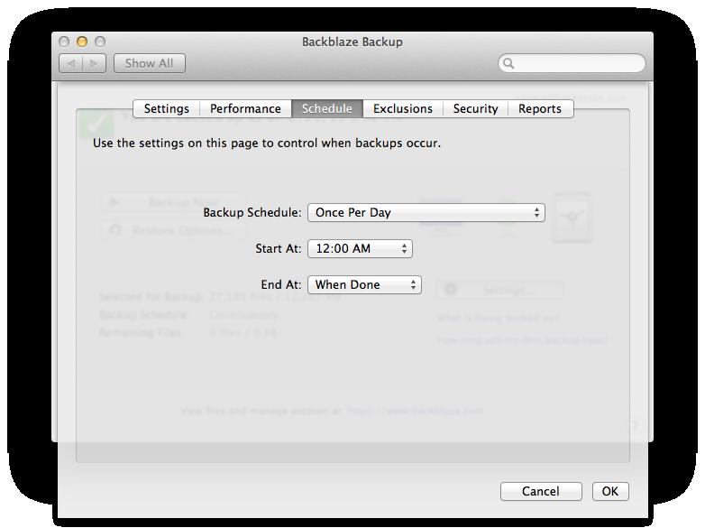 scheduling UI for backblaze